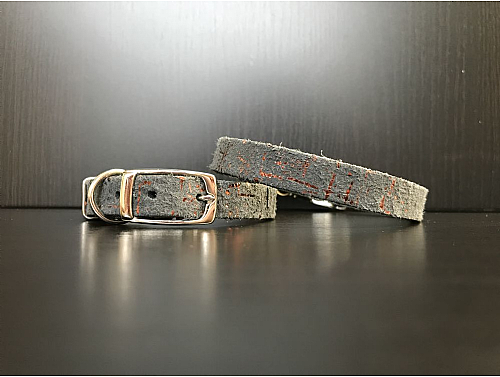 Graphite with Copper Metallic Details - Leather Dog Collar - Size XS