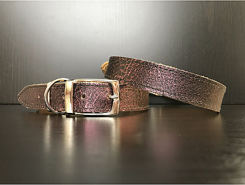 Black with Purple Metallic Pattern - Leather Dog Collar - Size L