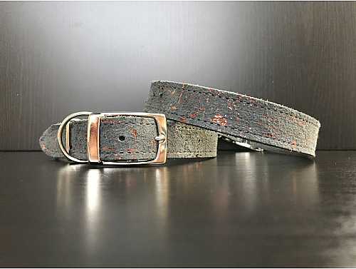 Graphite with Copper Metallic Details - Leather Dog Collar - Size L