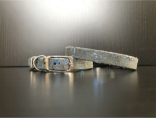 Graphite with Blue Metallic Details - Leather Dog Collar - Size XS