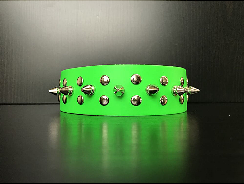 Fluorescent Green/1 Spike Studs - Leather Dog Collar - Size XL
