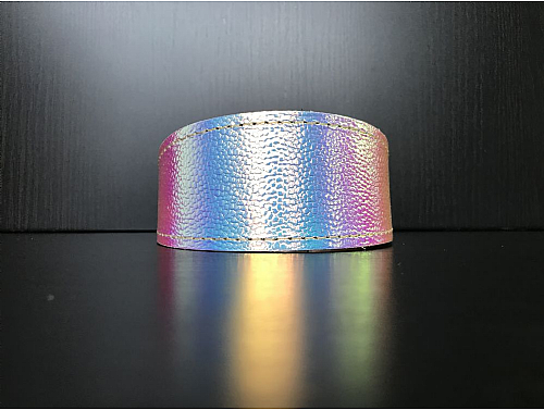 Lined Holographic - Whippet Leather Collar - Size S/M