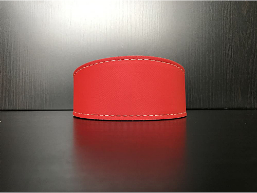Lined Satin Red - Whippet Leather Collar - Size S/M